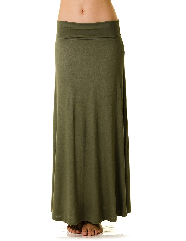 Basics Fold Over Rayon Maxi Skirt KSK3097