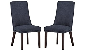 Amazing Stone Beam High Back Dining Room Table Chairs 38H Set Of 2 Navy Frankydiablos Diy Chair Ideas Frankydiabloscom