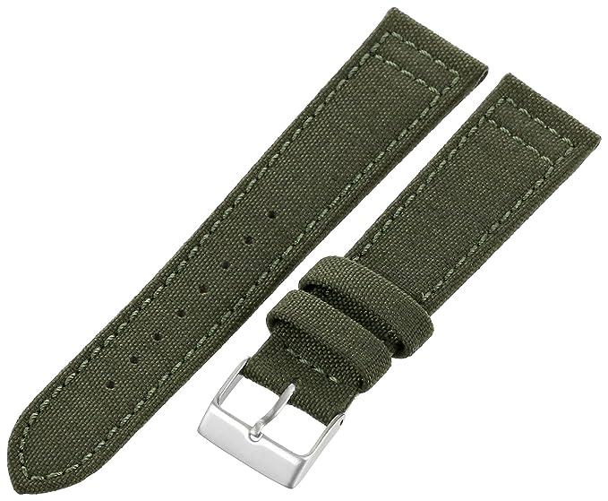3cf662f6ff0 Hadley-Roma Men s MSM850RAB200 20mm Army Green Genuine  Cordura  Watch Strap
