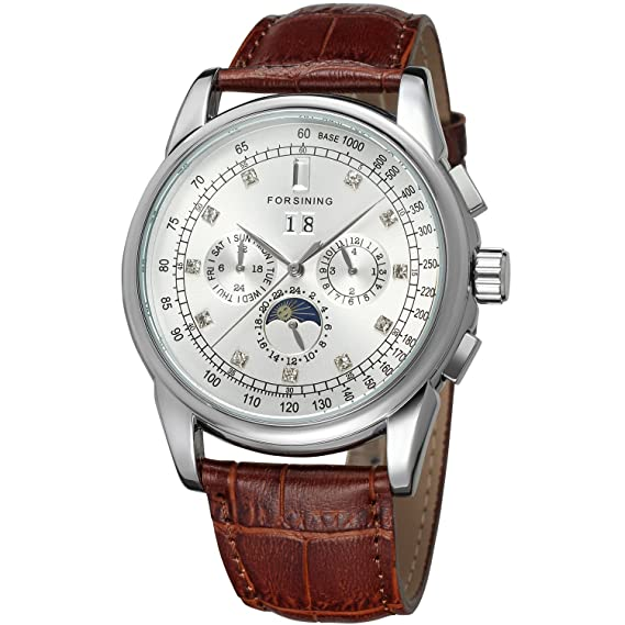 Seld Wind Movement Automatic Men's Phase Moon Display Forsining exoWdrCB