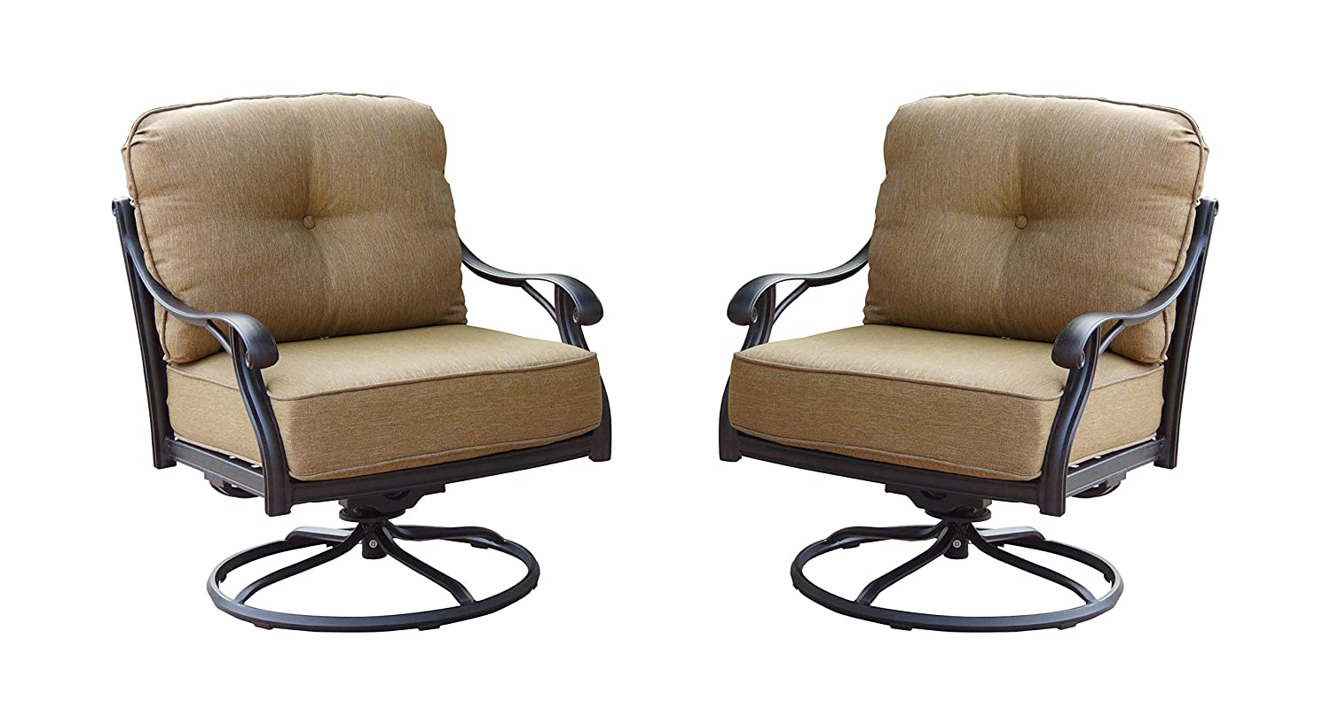 Amazon.com : Darlee Nassau Cast Aluminum Swivel Rocker Club Chair With Seat  And Back Cushion, Set Of 2, Antique Bronze Finish : Garden U0026 Outdoor