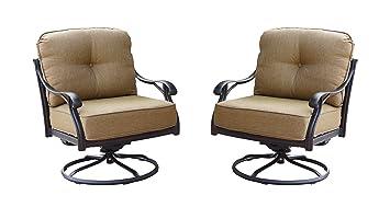 Amazon.com : Darlee Nassau Cast Aluminum Swivel Rocker Club Chair With Seat  And Back Cushion, Set Of 2, Antique Bronze Finish : Garden U0026 Outdoor