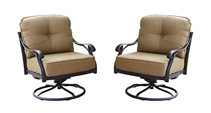 Darlee Nassau Cast Aluminum Swivel Rocker Club Chair With Seat And Back  Cushion, Set Of