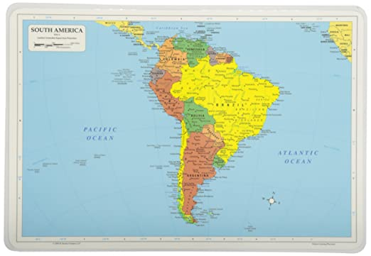 Amazon Painless Learning South America Map Placemat Home