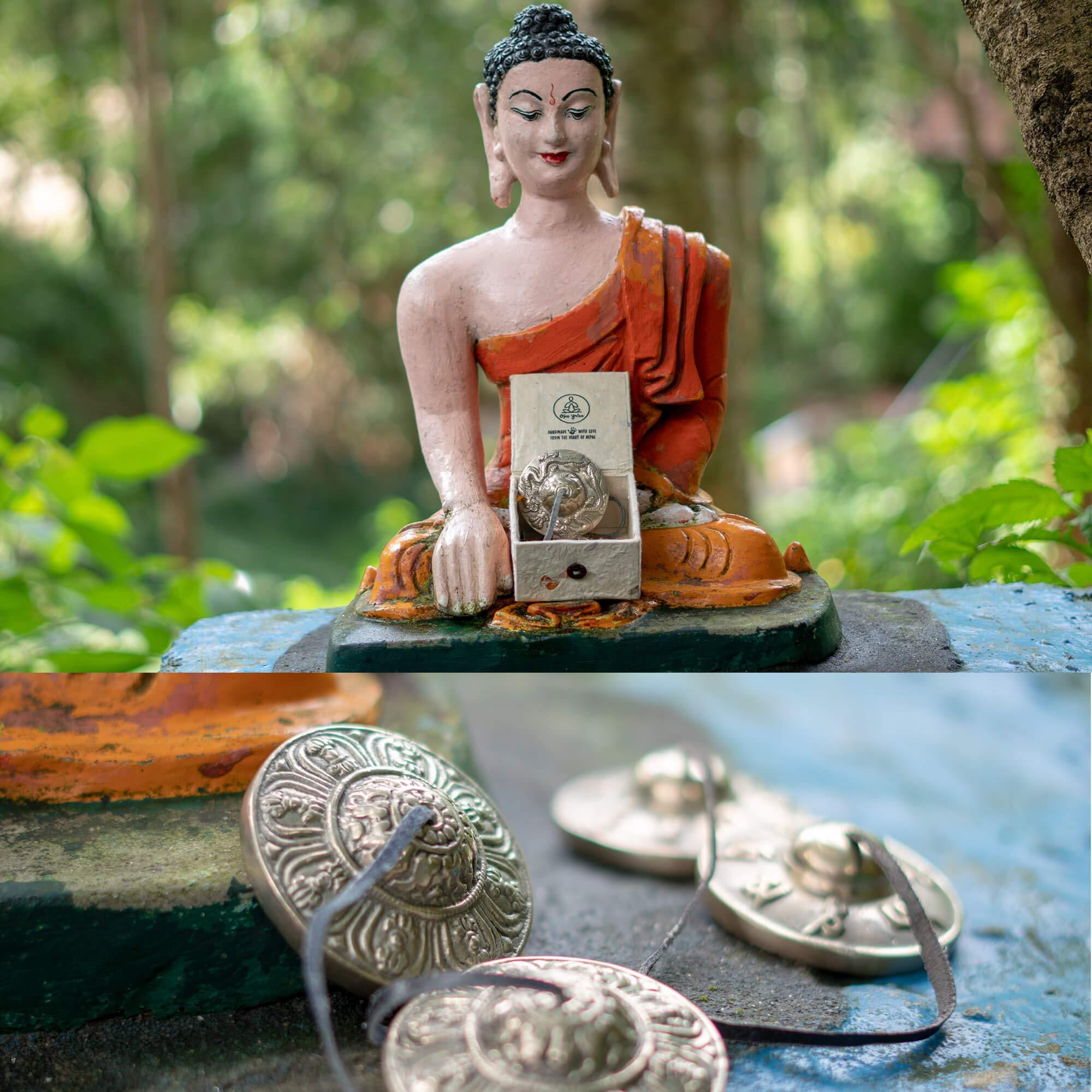 Handmade Tibetan Tingsha Cymbals - OM Mani Padme Hum - Premium Buddhist Meditation Bell - Yoga/Spiritual/Buddhist/Chimes/Hand percussion instrument/Home Decor Gift Set