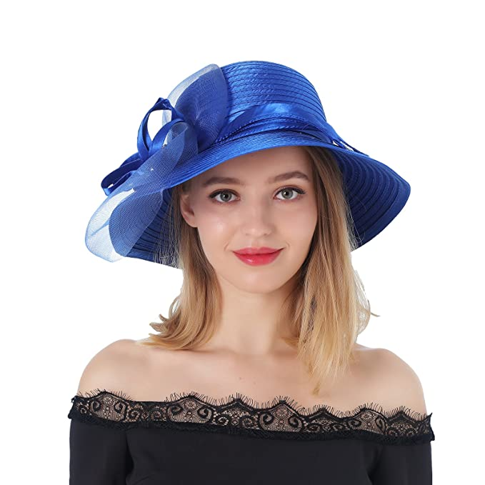ec9efa0d1e629 Dantiya Sun Shade Hats For Womens Summer Outdoor Wide Brim Kentucky Derby  Church Dress Wedding Floral