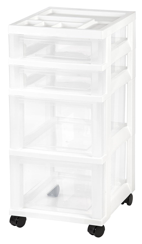 IRIS 4-Drawer Rolling Storage Cart with Organizer Top, White
