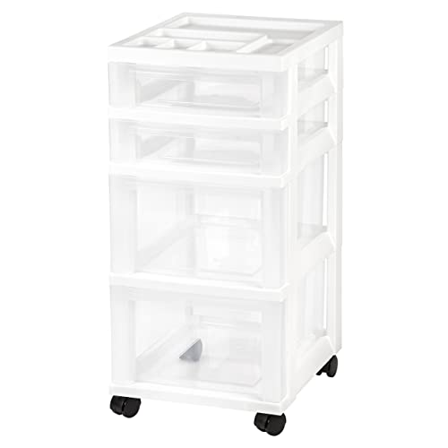 Plastic Storage Drawers Intended Iris 4drawer Rolling Storage Cart With Organizer Top White Plastic Containers Drawers Amazoncom
