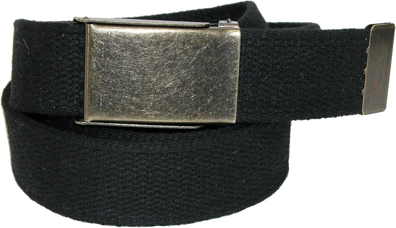CTM Mens Fabric Belt with Nickel Flip Top Buckle