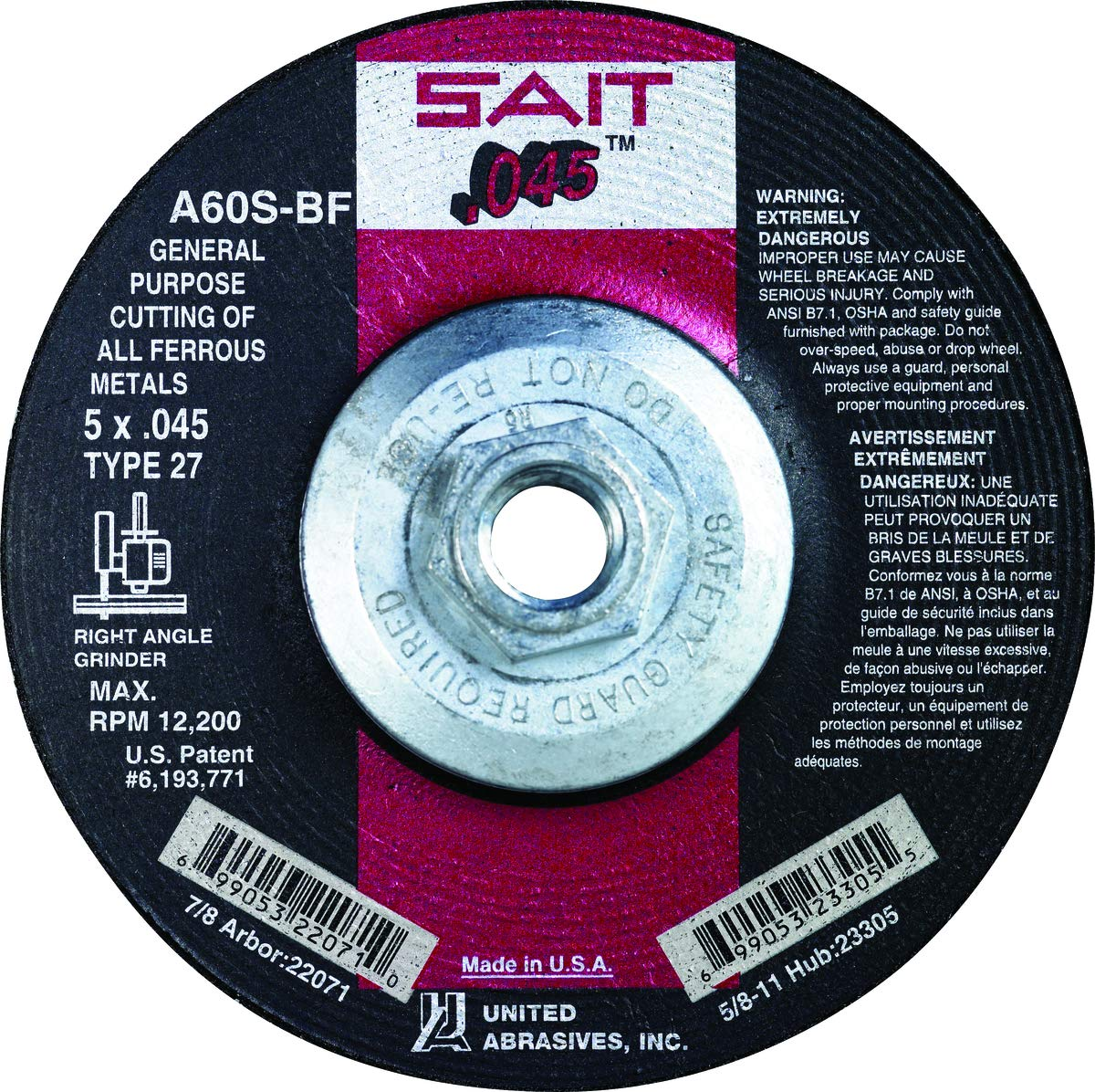 United Abrasives 4 1/2'' X .045'' X 5/8''-11 A60S 60 Grit Aluminum Oxide Type 27 Cut Off Wheel-10 Each