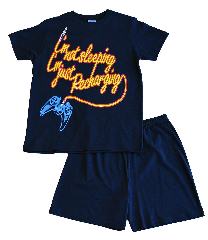 Boy's I'm Not Sleeping I'm Just Recharging Short Pyjamas 11 to 16 Years Blue