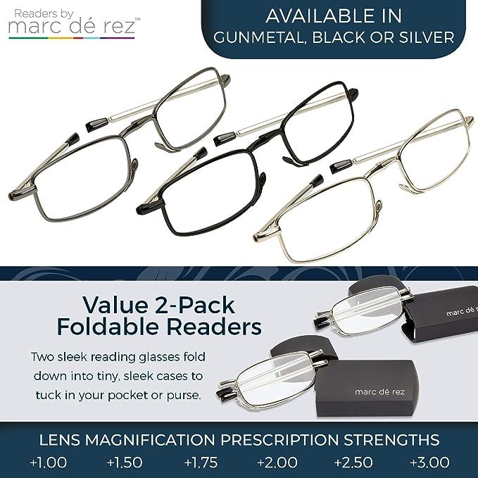 bde50a6b30 Amazon.com  Marc De Rez Foldable Mini Reading Glasses 2 Pack - Flip Top  Cases - Folding Prescription Readers For Men and Women (Black