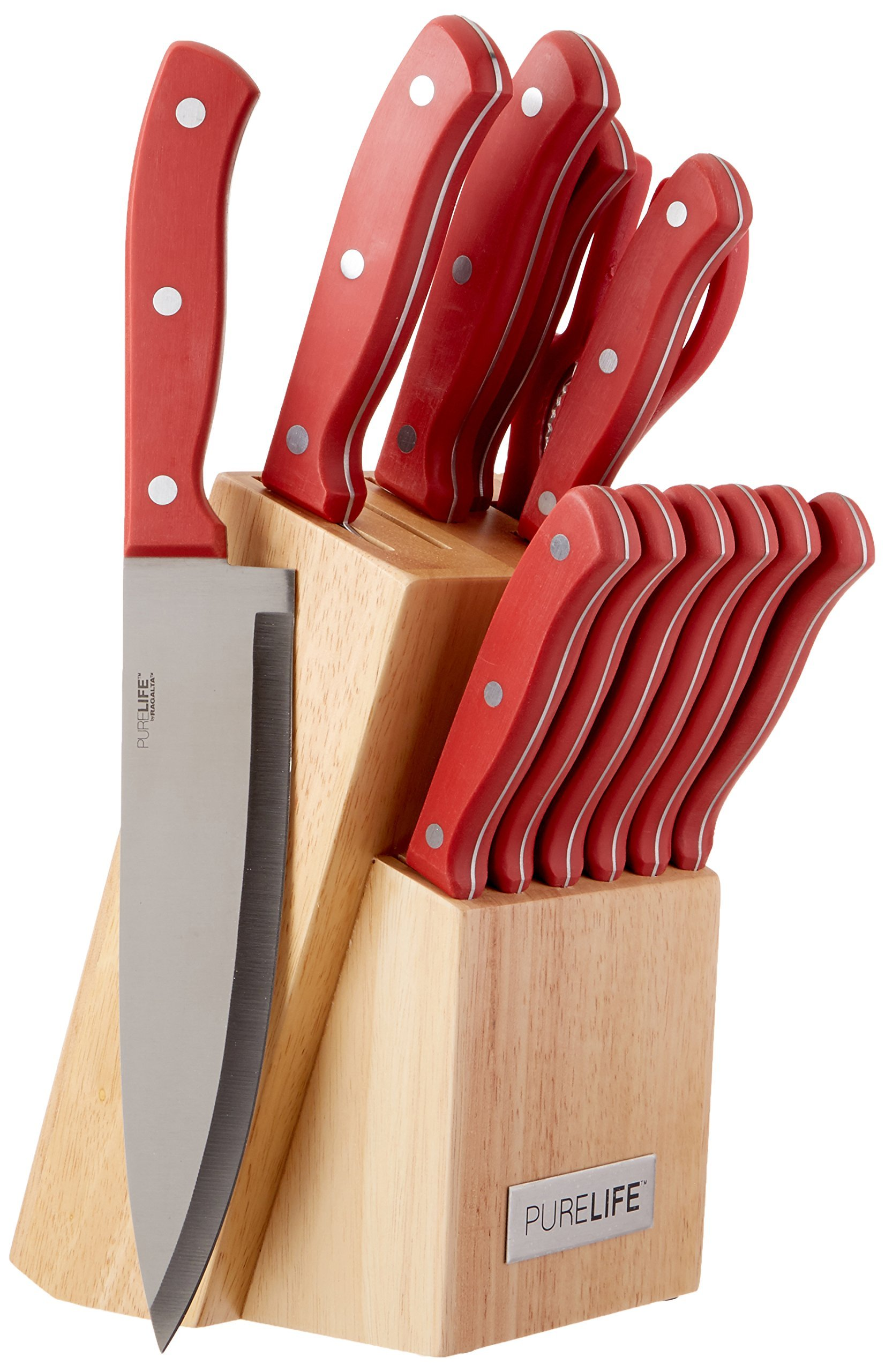 PureLife Ragalta PLKS 2111 Series 13-Piece High Carbon Stainless Steel Cutlery Set with Bakelite Handles and Block, Red