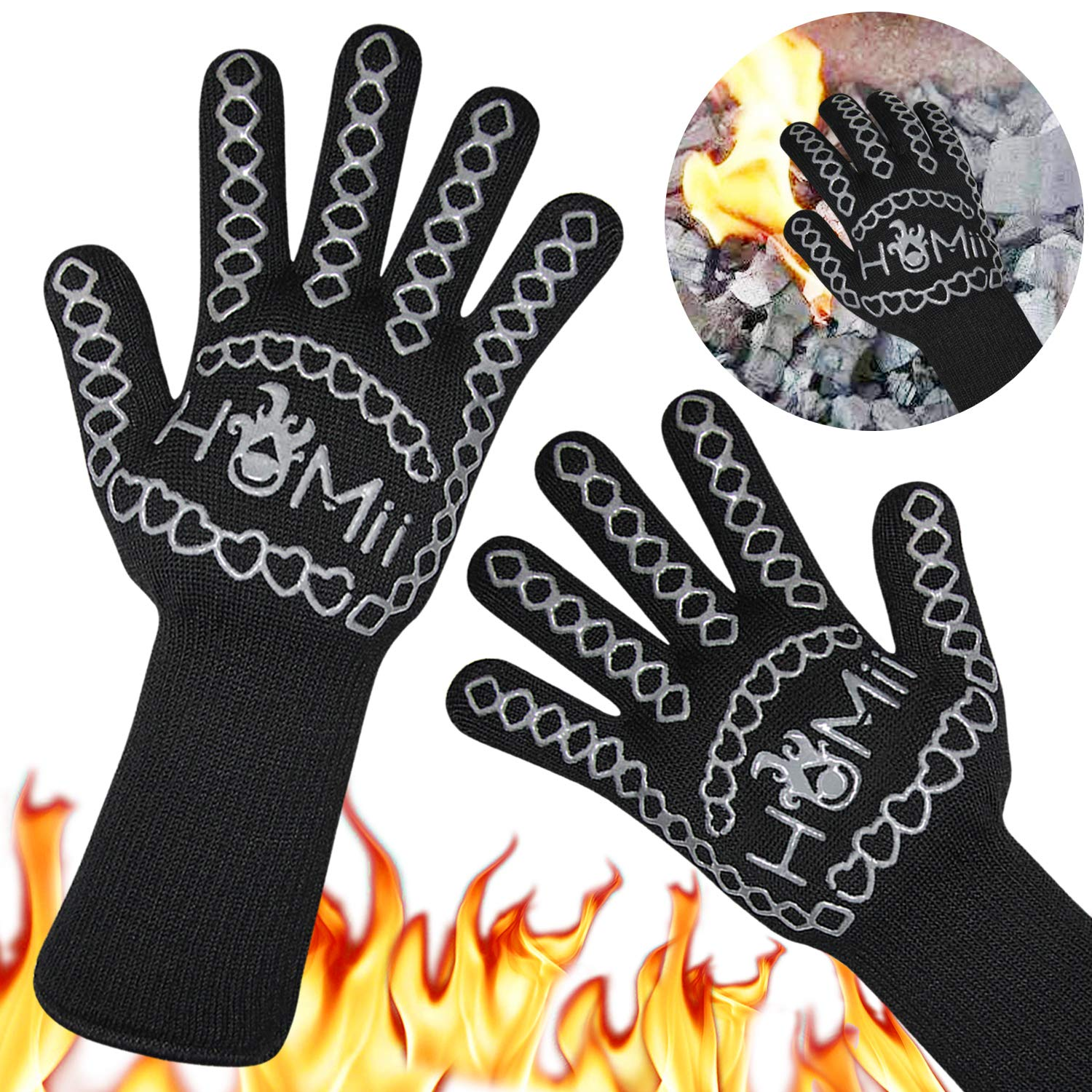 HoMii BBQ Gloves 1472℉ Extreme Heat Resistant, Oven Silicone Glove Kitchen Oven Mitts Grilling Glove for Cooking, Kitchen, Baking, Fireplace, Grilling, 1 Pair (13 Inch) (1-Black)