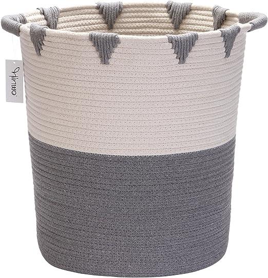 Hinwo Cesta de almacenamiento de cuerda de algodón plegable, cesta ...