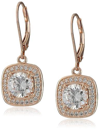 ddad5446c99c4 Sterling Silver Cubic Zirconia Round-Cut Halo Drop Leverback Earrings (3  cttw)