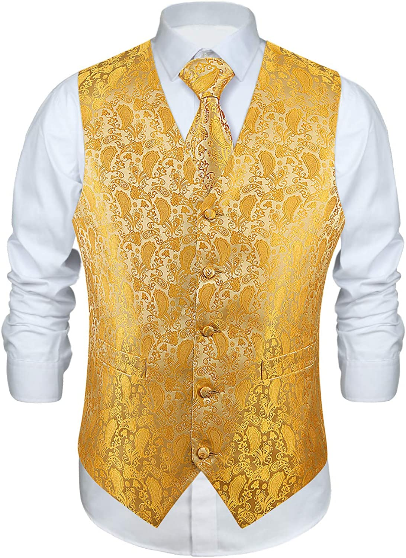 HISDERN Chaleco para hombre Paisley Floral Jacquard Corbata Panuelo de bolsillo Panuelo cuadrado Conjunto de traje