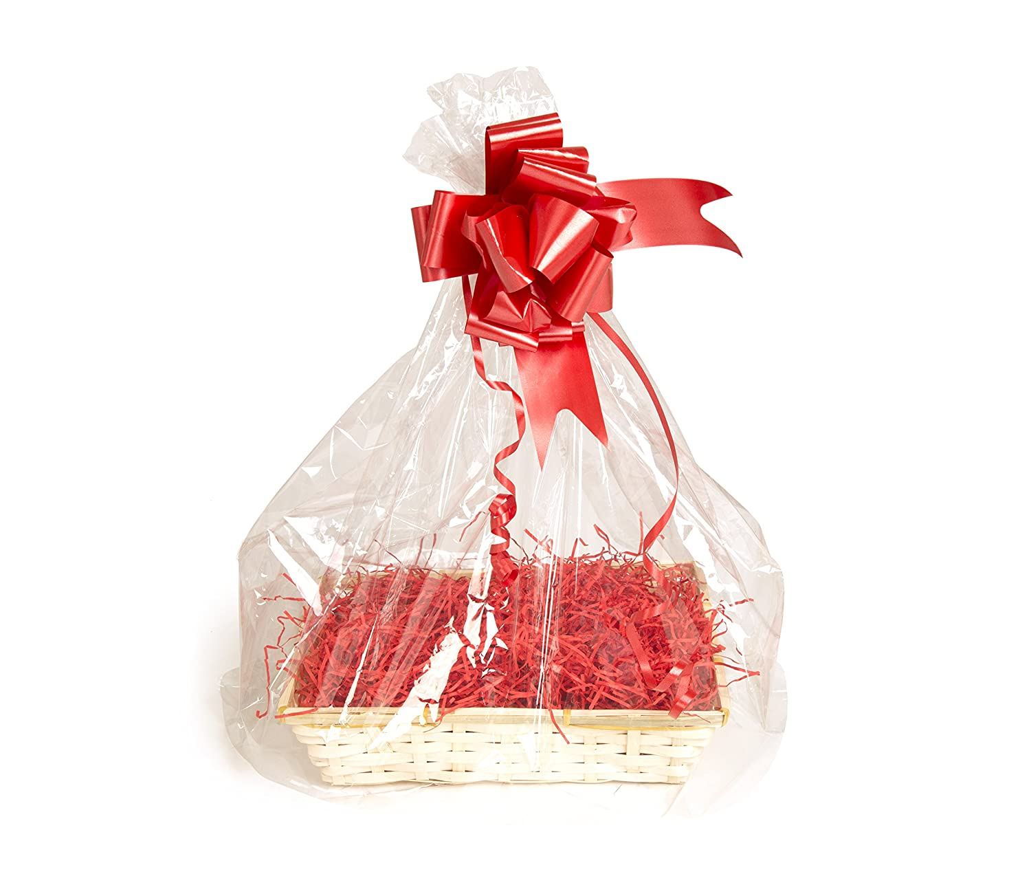 Your Gift Basket - Bamboo Basket Tray & DIY Hamper Kit with Red Shred, Red Bow and Clear Gift Wrap (305 mm length x 230 mm wide x 70 mm high)