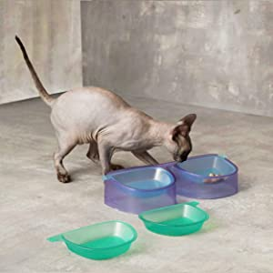 Sunglasses Cat Food Bowls,Elevated Cat Bowl,Non-Slip Cat Food Dish Stand for Kitty and Puppy,Stylish Retro Design Connecting People and Pets,4 Cat Food Dish,Purple