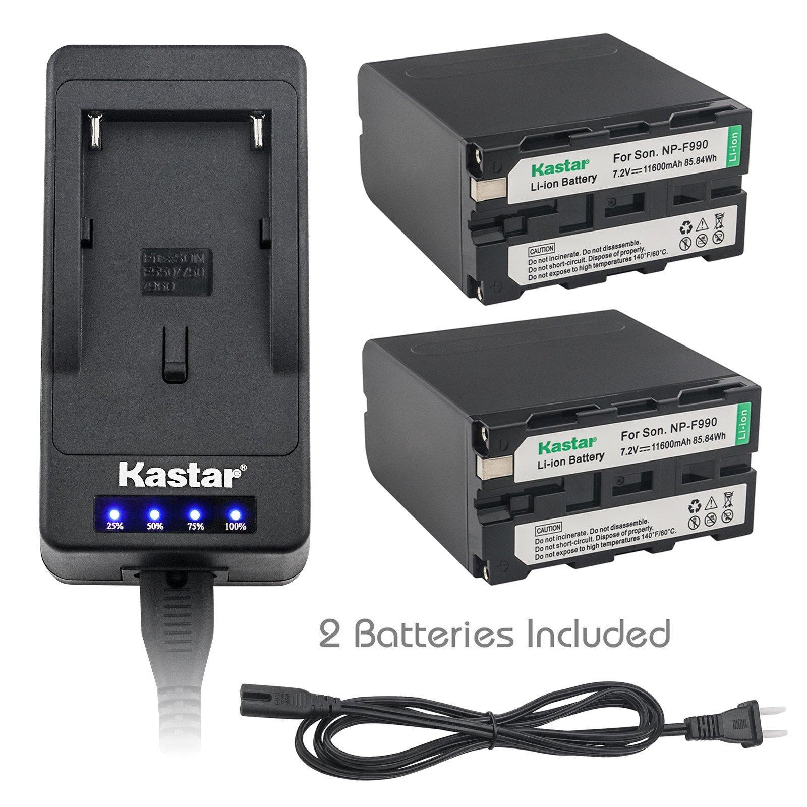 Kastar LED Super Fast Charger & Camcorder Battery X2 for Sony NP-F990 NP-F975 NP-F970 NP-F960 NP-F950 NP-F930 NP-F770 NP-F750 NP-F730 NP-F570 NP-F550 NP-F530 NP-F330 Battery and LED Video Light by Kastar
