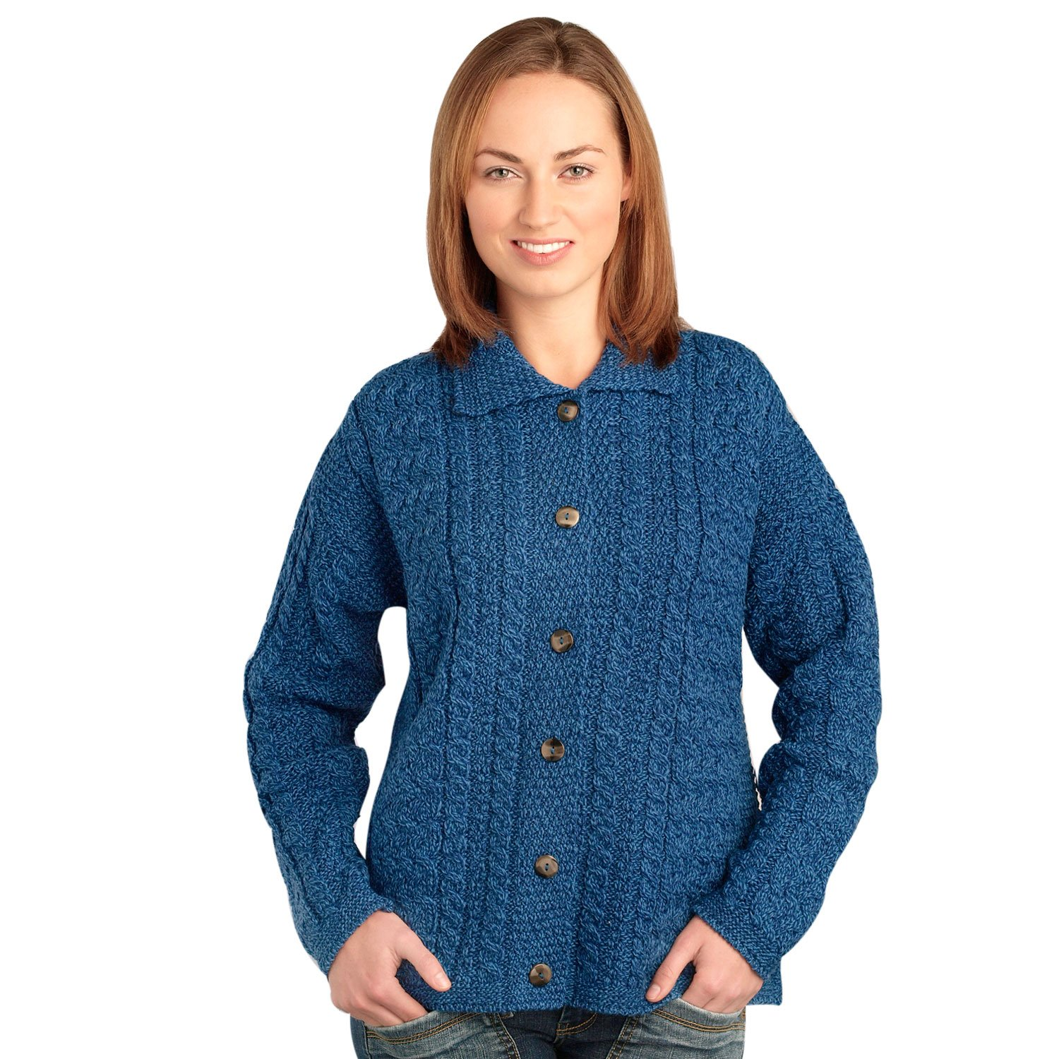 1940s Sweater Styles 100% Irish Merino Wool Merino Button Collar Sweater $87.50 AT vintagedancer.com