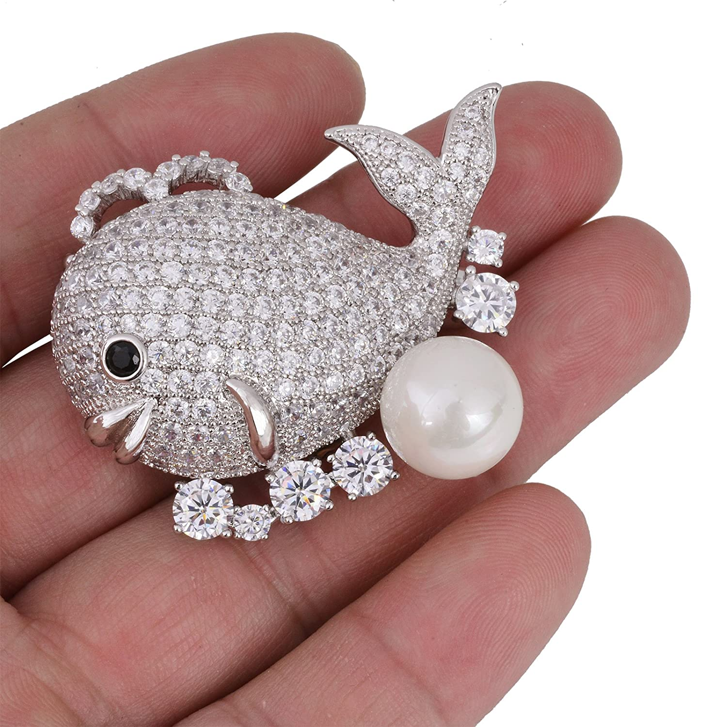 OBONNIE Women Cubic Zirconia Crystal 3D Goldfish Whale Pearl Brooch Pin Corsage Pendant Silver Tone
