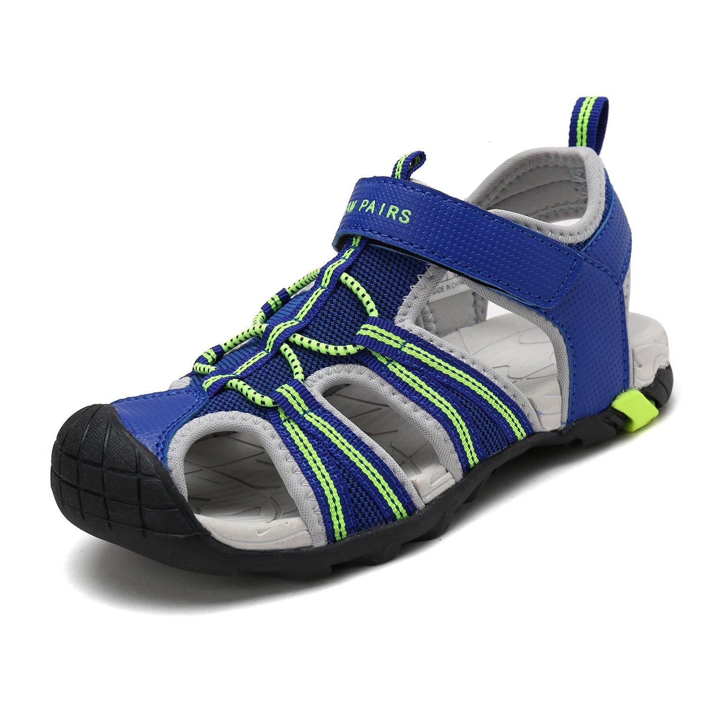 DREAM PAIRS Big Kid 170813-K Royal N.Green LT.Grey Outdoor Summer Sandals Size 4 M US Big Kid