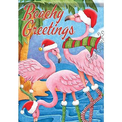 holiday flamingo christmas house flag beach greetings nautical santa 28 - Flamingo Christmas