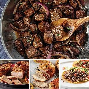Freezer Filler Favorites from Omaha Steaks (Beef Sirloin Tips, Boneless Pork Chops, Boneless Chicken Breasts, and Premium Ground Beef)