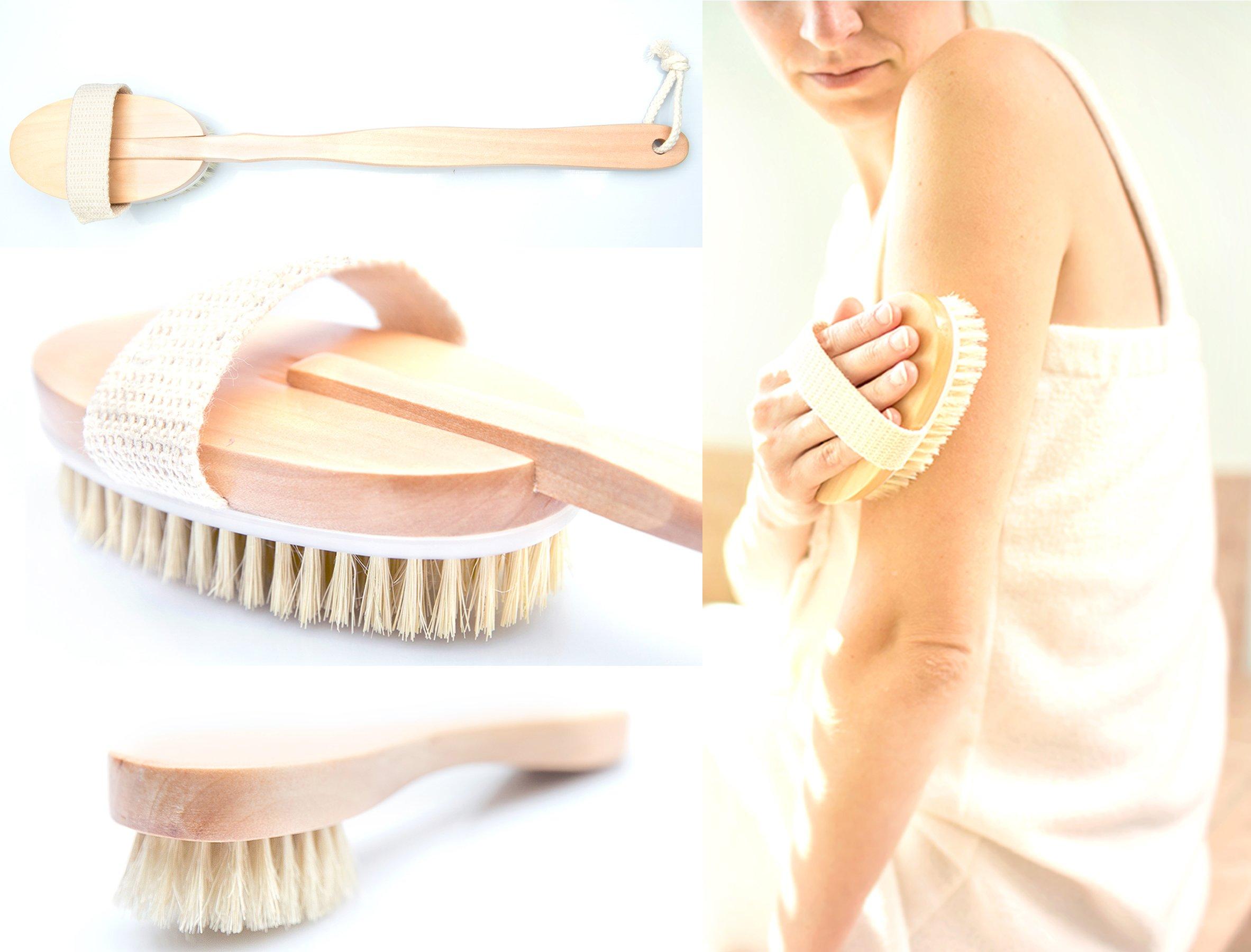 3 Piece Dry Brush Set for Cellulite Massaging, Dry Body Brushing
