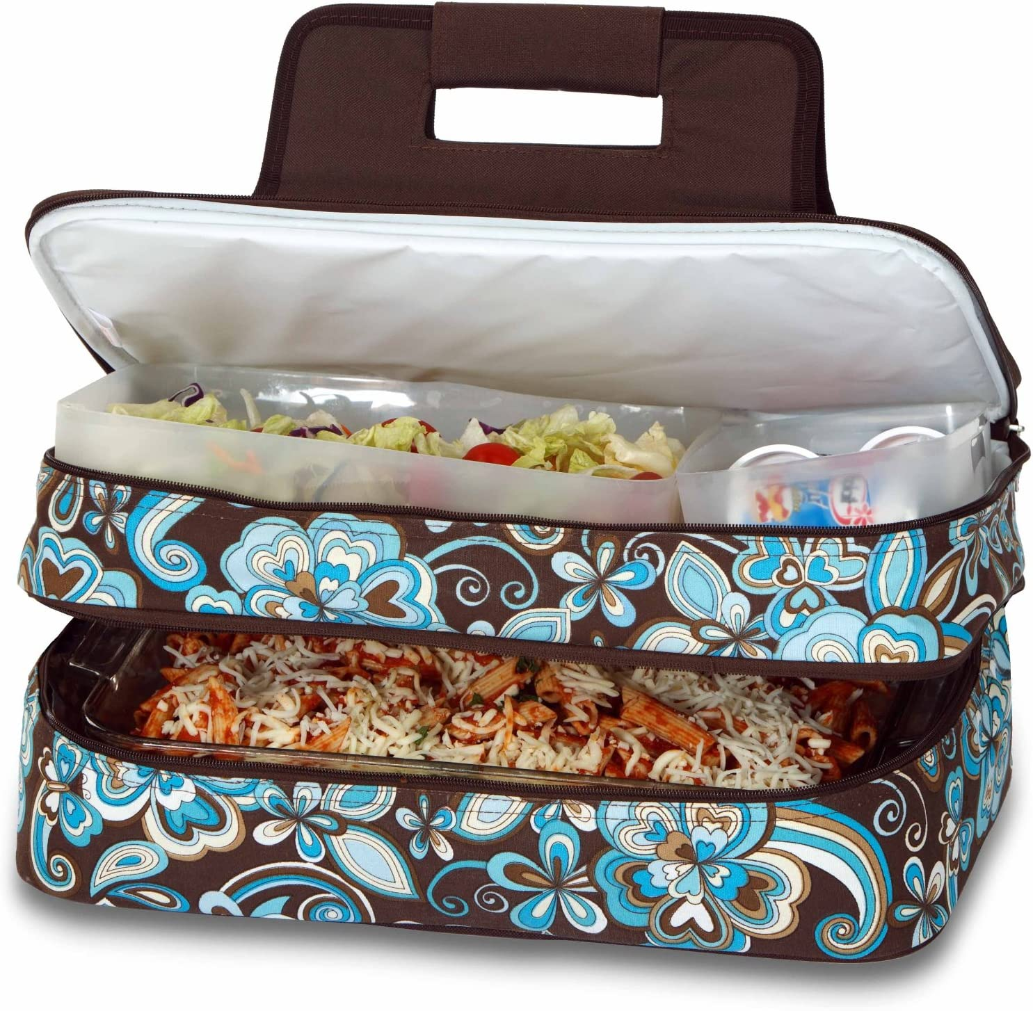 """Picnic Plus 18"""" Casserole Carrier 2 Level Thermal Insulated Hot and Cold Food Carrier Double Layer Food Carrier Bag Potluck Carrier With Bonus Containers (Cocoa Cosmos)"""