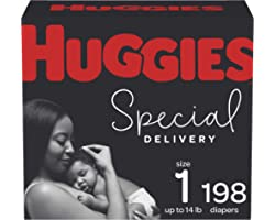 Diapers Size 1 - Huggies Special Delivery Hypoallergenic Disposable Baby Diapers, 198ct, One Month Supply