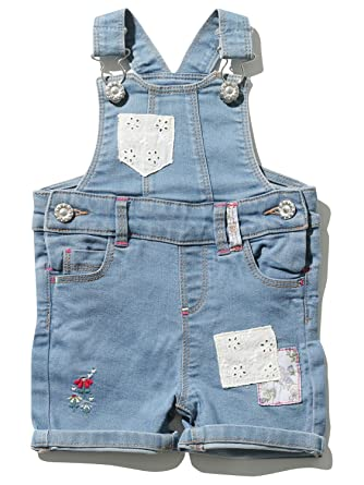 605cf0f6f6 M Co Baby Girl Cotton Rich Light Denim Wash Patchwork Floral Embroidered  Pocket Bibshort Dungarees Denim 0