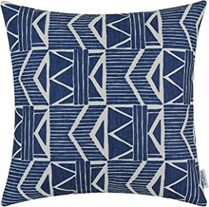 CaliTime Canvas Throw Pillow Cover Case for Couch Sofa Home Decoration Vintage Southwestern Geometric 20 X 20 Inches Navy Blue