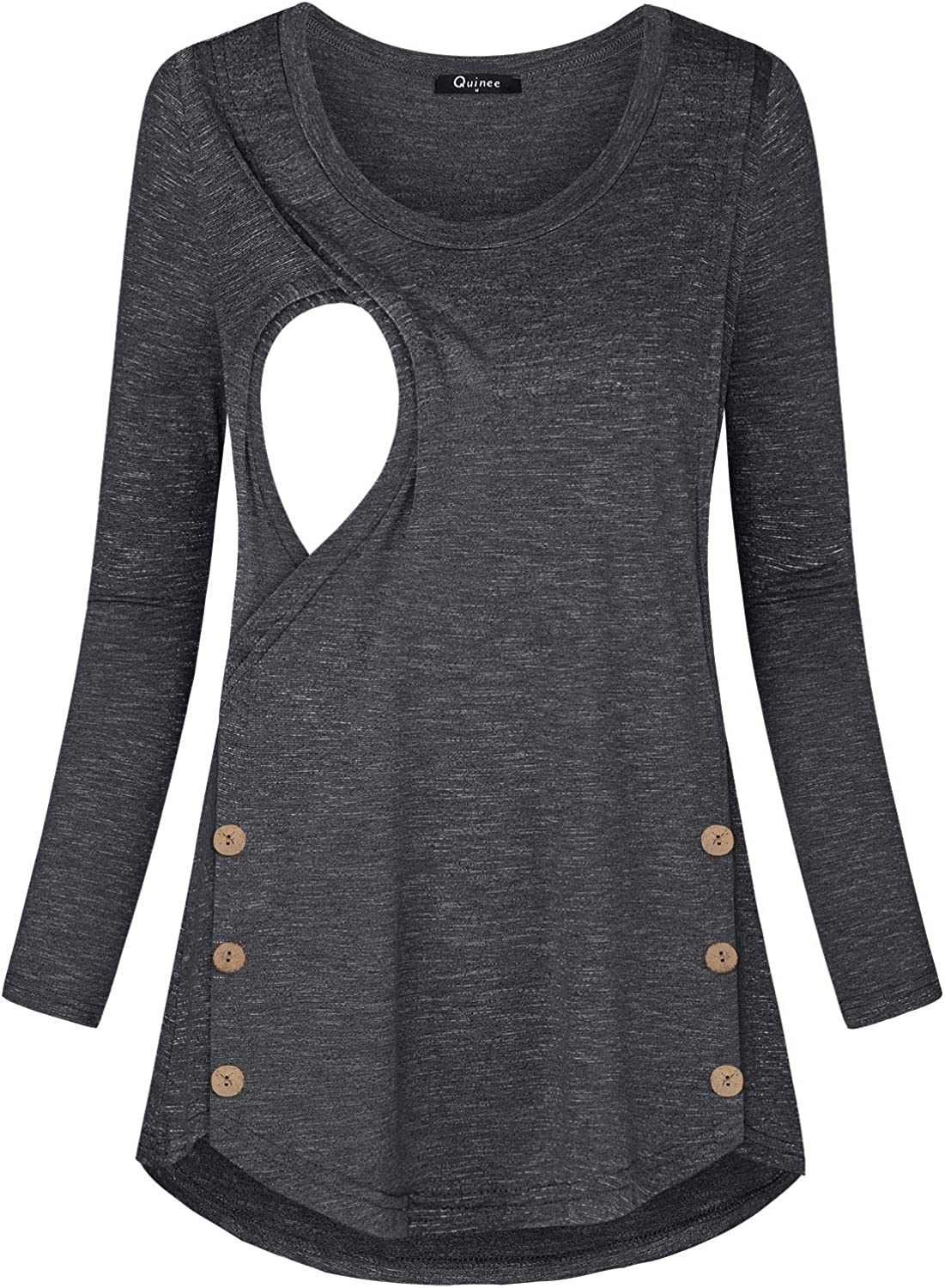 Quinee Women's Button Side Maternity Tunic Nursing Tops for Breastfeeding