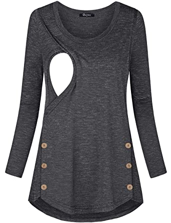 c76a2337ec7f2 Quinee Breastfeeding Shirts for Women, Mama Maternity Round Neck Long  Sleeve Casual Winter Button Details
