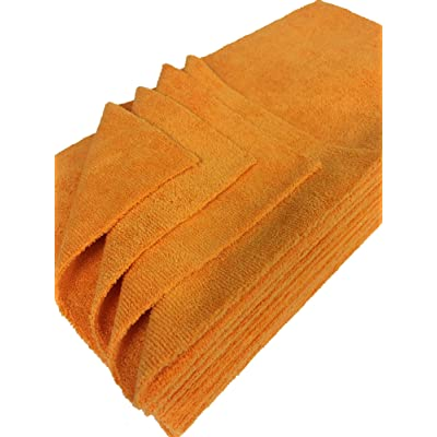Detailer's Preference Eurow Ultrasonic Cut Maximum Absorption Premium Cleaning Towels 350gsm Orange 16 x 16 Inches 12 Pack: Automotive
