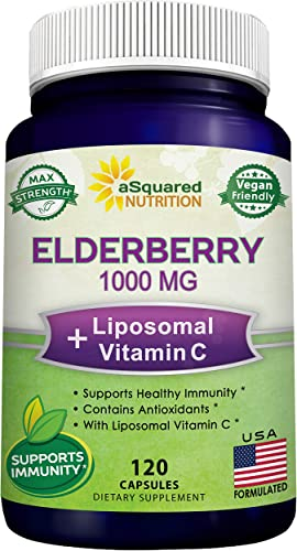 Black Elderberry Capsules with Vitamin C Zinc Supplement – Elderberry Sambucus Nigra 1000mg Liposomal VIT C – Natural Elderberries Immune Support Booster Pills – 120 Veggie Caps