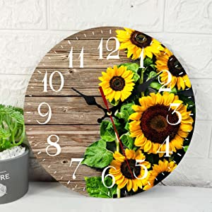 Wooden Wall Clock Silent Non-Ticking , Autumn Sunflowers Wooden Board Wood Flower Vintage Round Wall Clocks Decor for Home Kitchen Living Room Office, Battery Operated(12 Inch)