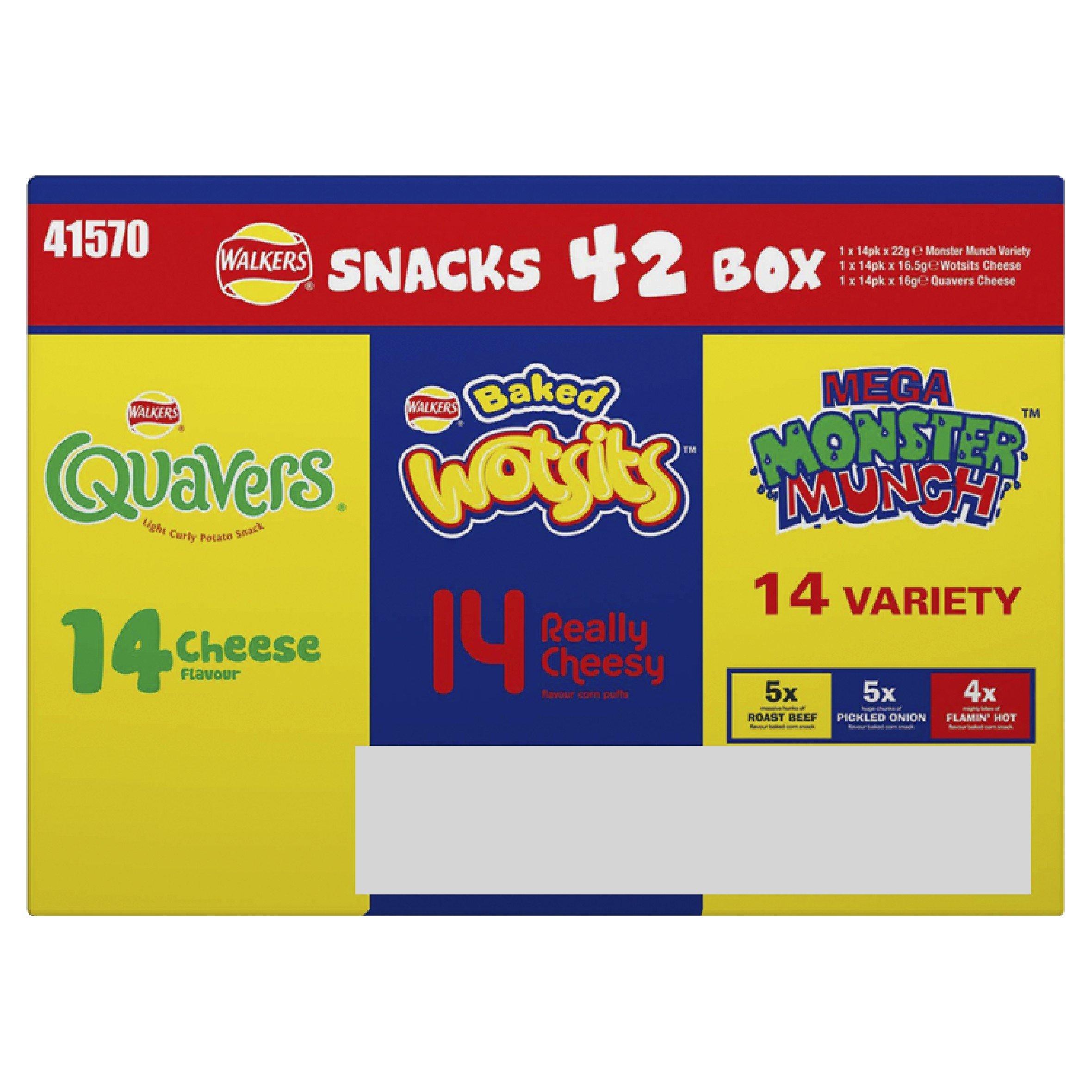 WALKERS SNACK 42 Pack Variety Crisp BOX - WOTSITS QUAVERS MONSTER MUNCH by Premier Life Store