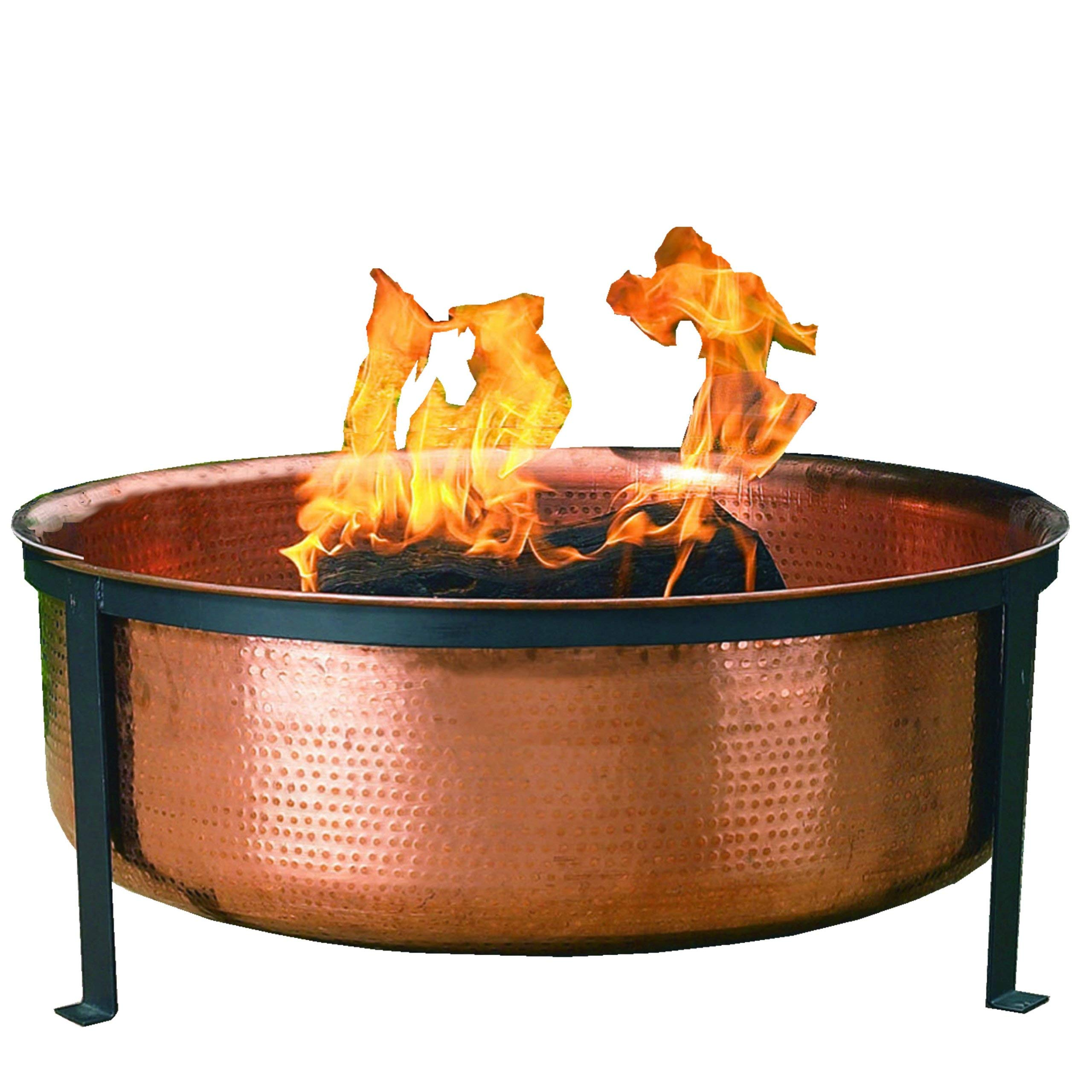 CobraCo SH101 Hand Hammered 100% Copper Fire Pit with Screen and Cover (Renewed) by CobraCo