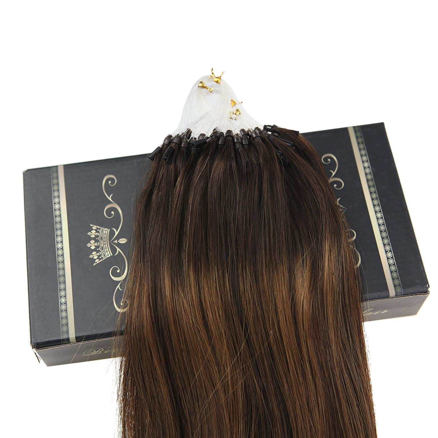Ugeat 16 Inch Hair Extensions Micro Loop Remy Human Hair Straight 1g