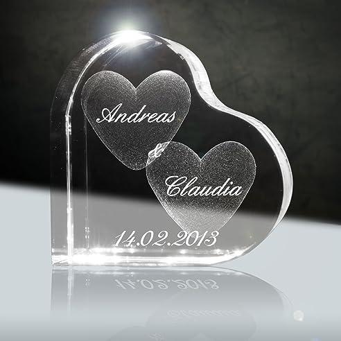 3D Laser Glaskristall Herzform Mit Deiner Wunschgravur (Namen, Datum Und  Zusatztexten   Das Ideale