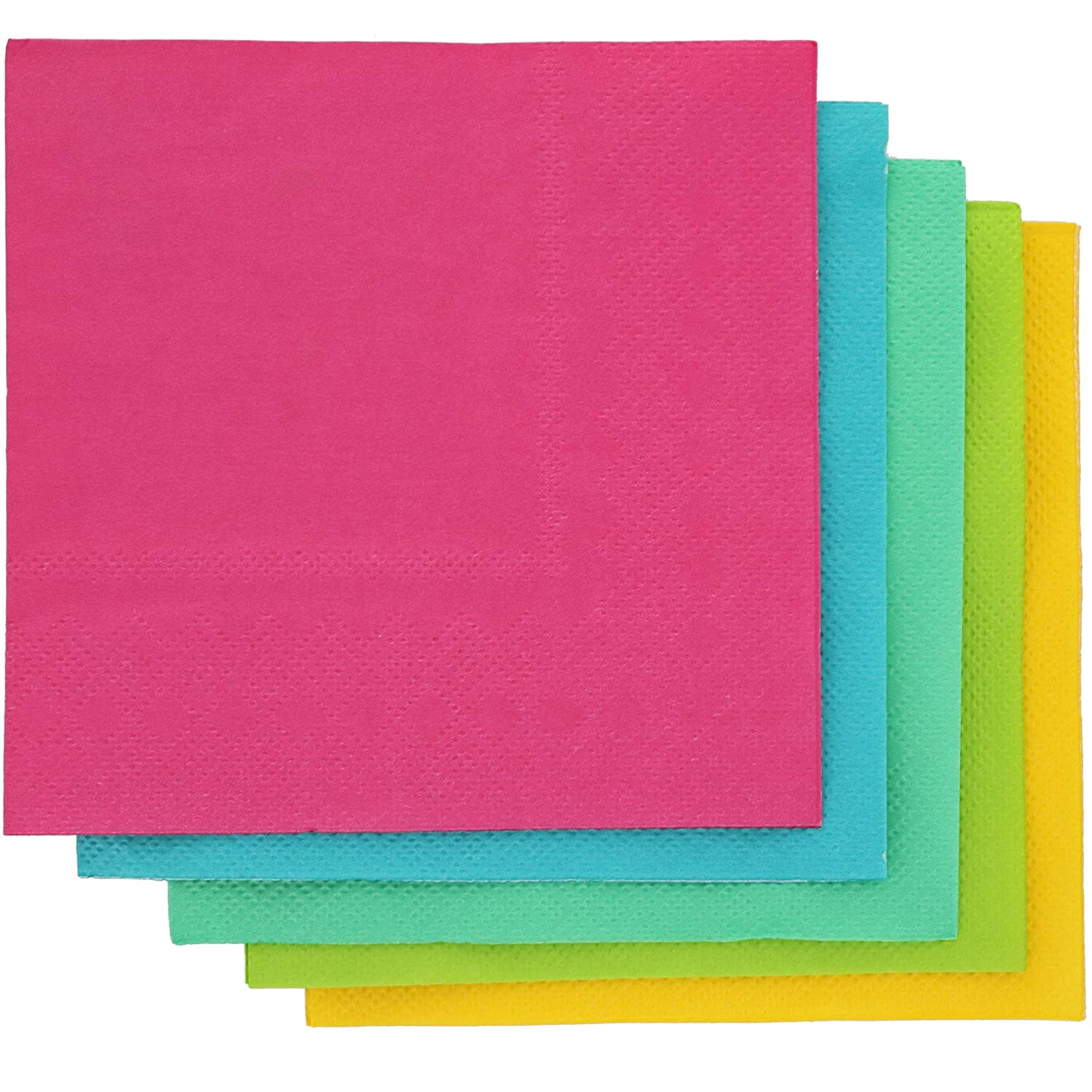Tropical Neon Paper Napkins, 5 Colors (5 x 5 Inches, 200 Pack)