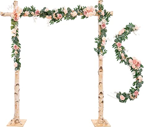 Amazon Com Ling S Moment Wedding Arch Decor Flowers 2 Rows 6 5ft Blush Pink Flower Garlands For Backdrop Ceremony Decorations Home Kitchen