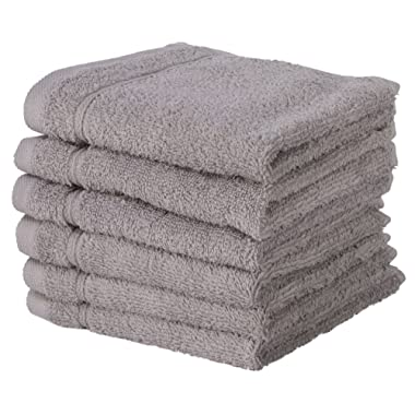 6 PACK Washcloth Towels Set | Premium Quality Luxury Turkish Cotton Absorbent AND Super Soft - SILVER GREY