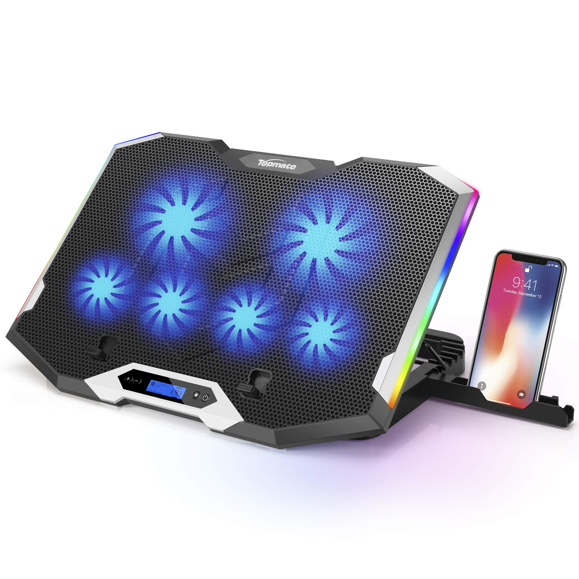 """TopMate C11 Laptop Cooling Pad Silver Wing Cooler, RGB Lighting Laptop Cooler Fan Compatible 11-17.3"""" Laptop, 6 Fans Strong Wind and 7 Lighting Mode Adjustable Angle"""