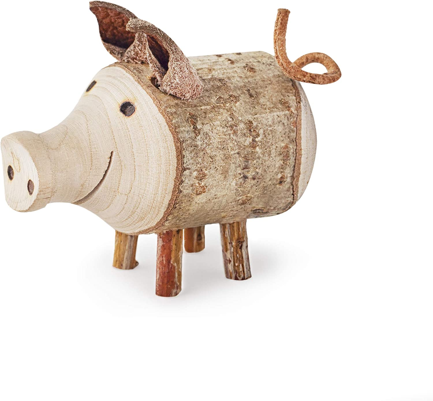 Forest Decor Wooden Pig Figurine, Small Animal Figurines, Natural Farmhouse Cute Decorations for Living Room, Bedroom, or Nursery, Handmade in Germany, Tiny Pig