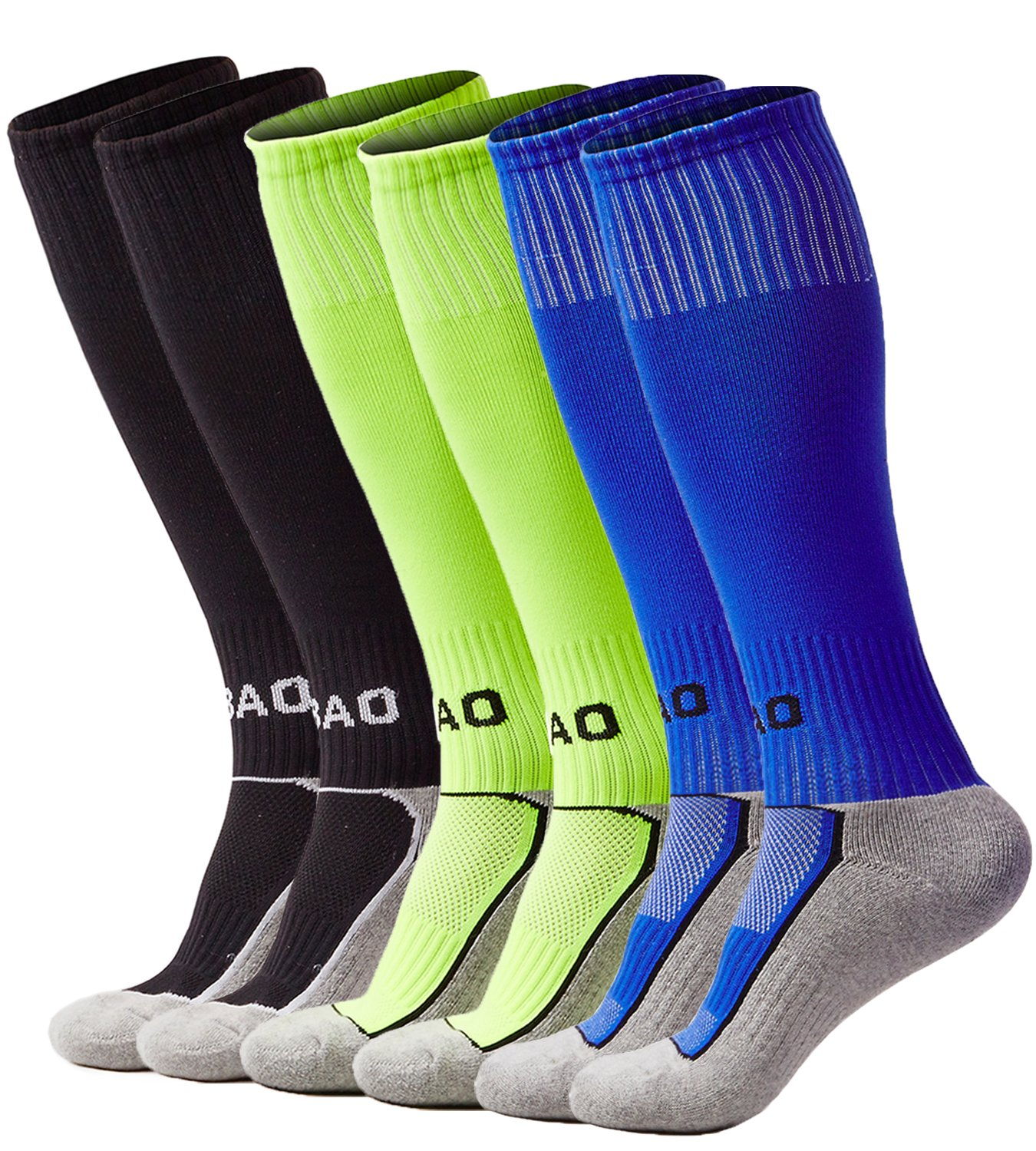 laventoボーイズ/ガールズクッションover the calf Soccer Socks B07BGW2RX2 M (Youth's shoes size 2Y-6)|3 Pack-Black/Neon green/Blue 3 Pack-Black/Neon green/Blue M (Youth's shoes size 2Y-6)