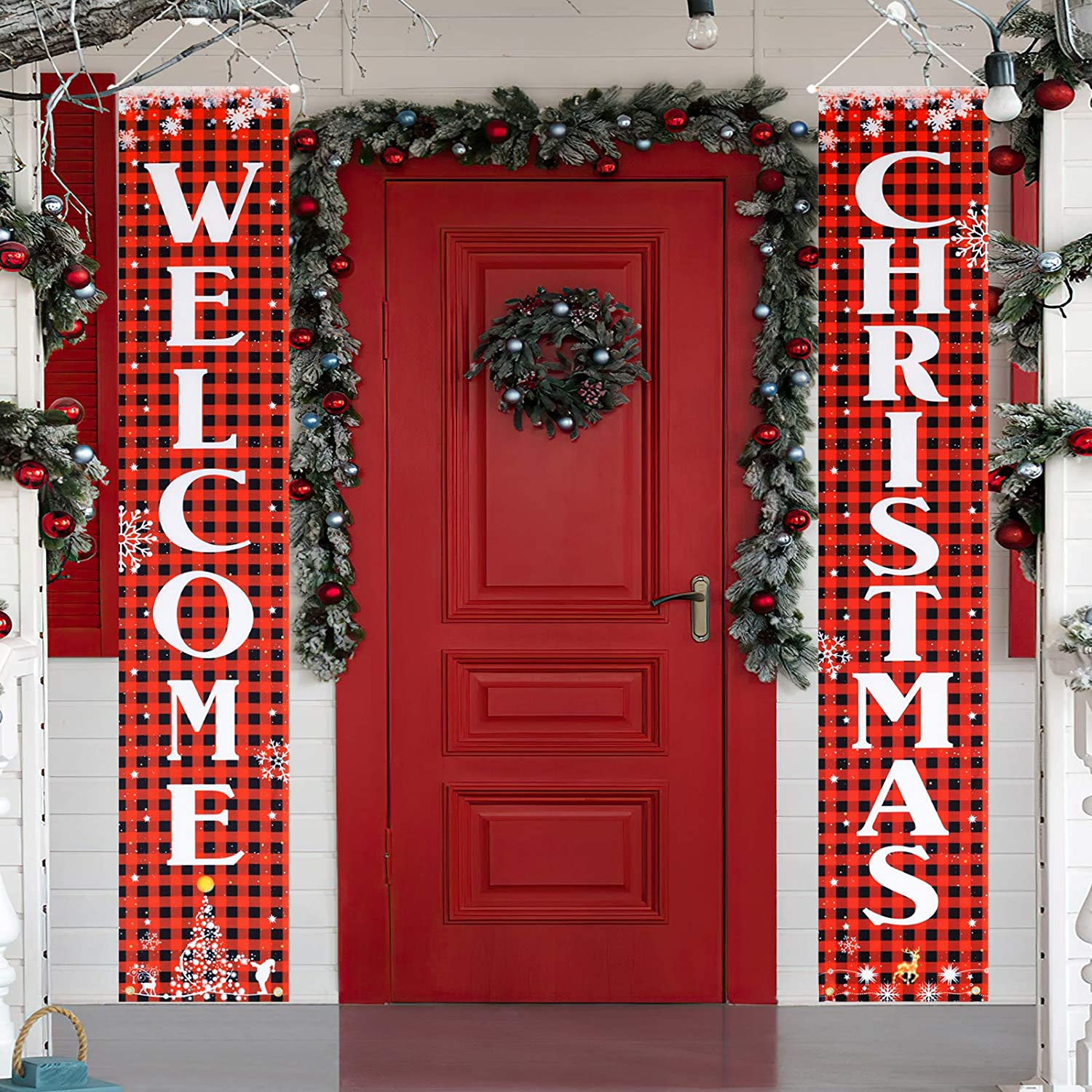 KRISVI Christmas Porch Decorations for Home Merry Christmas Banner,Welcome Christmas Porch Signs Banners for Front Door Christmas Decoration Outdoor Flags Christmas Signs Hanging Decorations